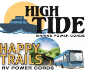 Logos for High Tide Marine Cords and Happy Trails RV Cords